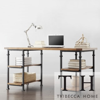 TRIBECCA HOME Myra Vintage Industrial Modern Rustic Oak Storage Desk