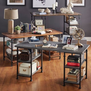 Myra Vintage Industrial Modern Rustic Oak Storage Desk
