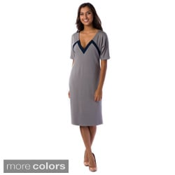 AtoZ Women's Contrast Trim V-neck Column Dress