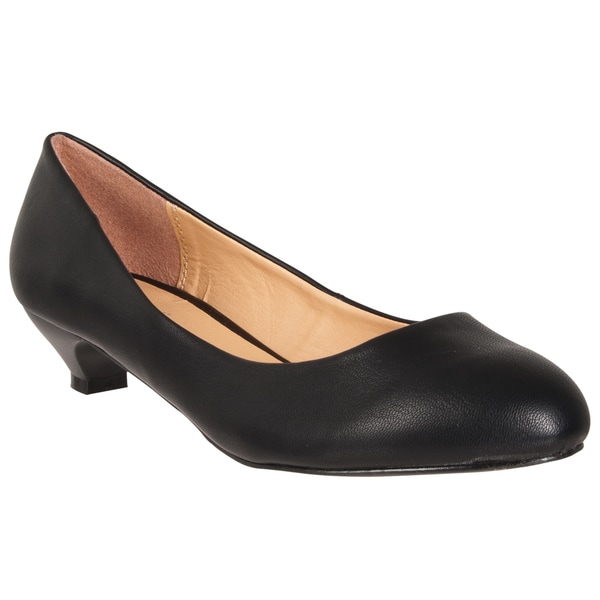 Riverberry Women's Black Wet Kitten Heel Pumps