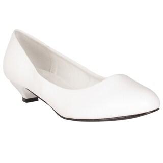 Riverberry Women's White Kitten Heel Pumps