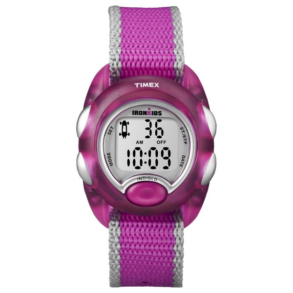Timex T7B9809J Kids' 'Iron Translucent Pink Resin Strap Watch