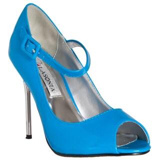 Riverberry Women's Blue Peep-toe Mary Jane Stiletto Heels