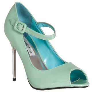 Riverberry Women's Mint Peep-toe Mary Jane Stiletto Heels