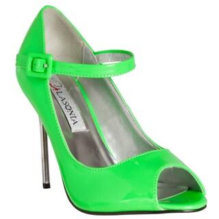 Riverberry Women's Green Peep-toe Mary Jane Stiletto Heels