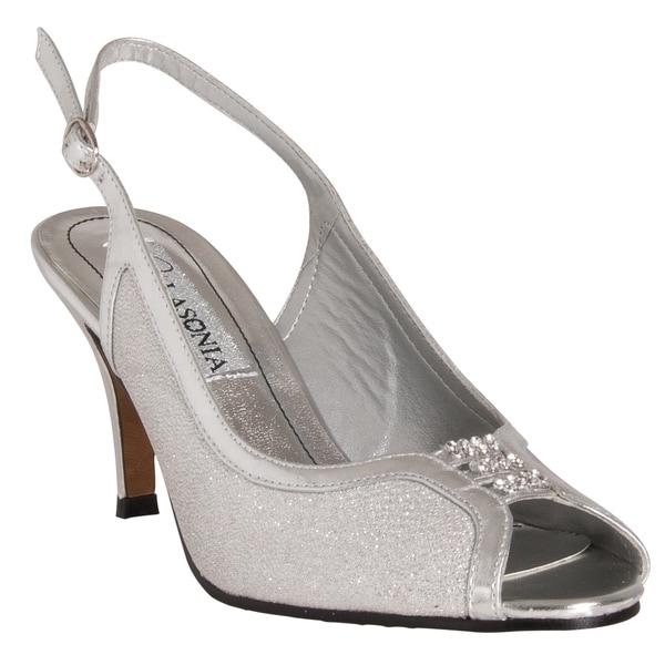 Riverberry Women's Silver Glitter Vamp Peep-toe Slingback Heels