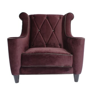 Decenni Custom Furniture 'Prince' Purple Velvet Crystal-button Tufted Club Chair