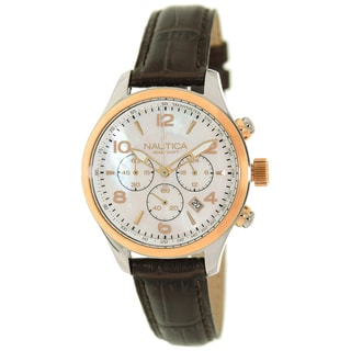 Nautica Women's Brown Leather Strap Silver Dial Watch