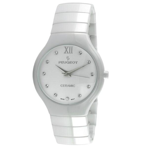 Peugeot Women's Swiss Quartz White Ceramic Watch