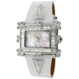 Peugeot Women's 'Couture' Crystal-accented White Leather Strap Watch