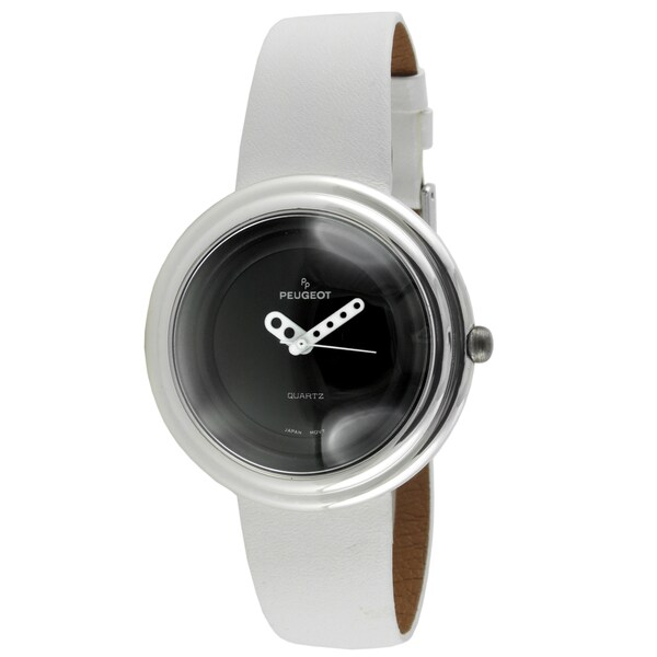 Peugeot Women's White Leather Strap Bubble Watch