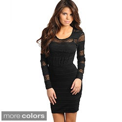 Stanzino Women's Long Sleeve Lace Mini Dress