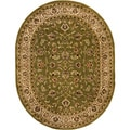 Oriental Sarouk Formal Green Oval Area Rug (5'3 x 6'10)
