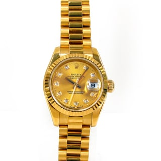 Pre-Owned Rolex Women's 18K Yellow Gold President Watch with Diamond Dial