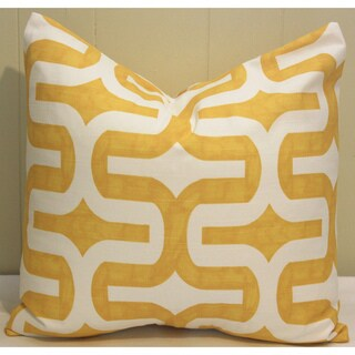 Taylor Marie Corn Yellow Geometric Maze Throw Pillow Cover