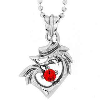 Stainless Steel Men's Red Cubic Zirconia Dragon Heart Necklace