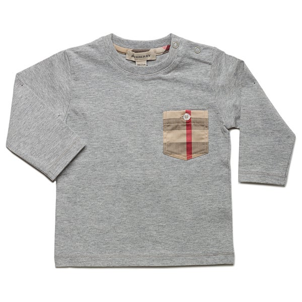 Burberry Boy's 'Melange' Grey Check Pocket Long Sleeve T-shirt