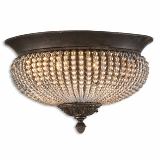 Cristal De Lisbon 2-light Oil Rubbed Bronze Flush Mount