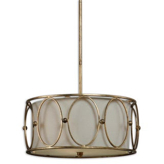 Ovala 3-light Antique Gold Leaf Drum Pendant