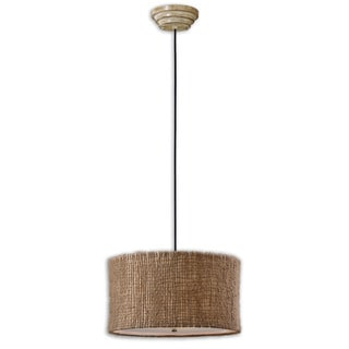 Burleson 3-light Natural Twine Drum Pendant