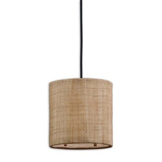 Dafina 1-light Burlap Weave Mini Drum Pendant