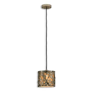 Alita 1-Light Black Antique-Stain-Finish Mini Drum Pendant
