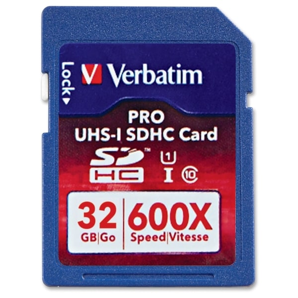 Verbatim 32GB Pro 600X SDHC Memory Card, UHS-1 U3 Class 10 - TAA Comp