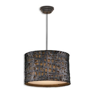 Alita 3-light Aged Black Drum Pendant