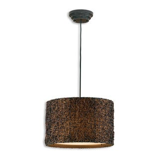 Knotted Rattan 3-light Espresso Drum Pendant