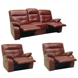 Augusta Red Leather Reclining Sofa and Two Glider/Recliner Chair