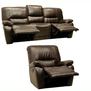 Coney Coffee Italian Leather Reclining Sofa and Recliner Chair Overstock