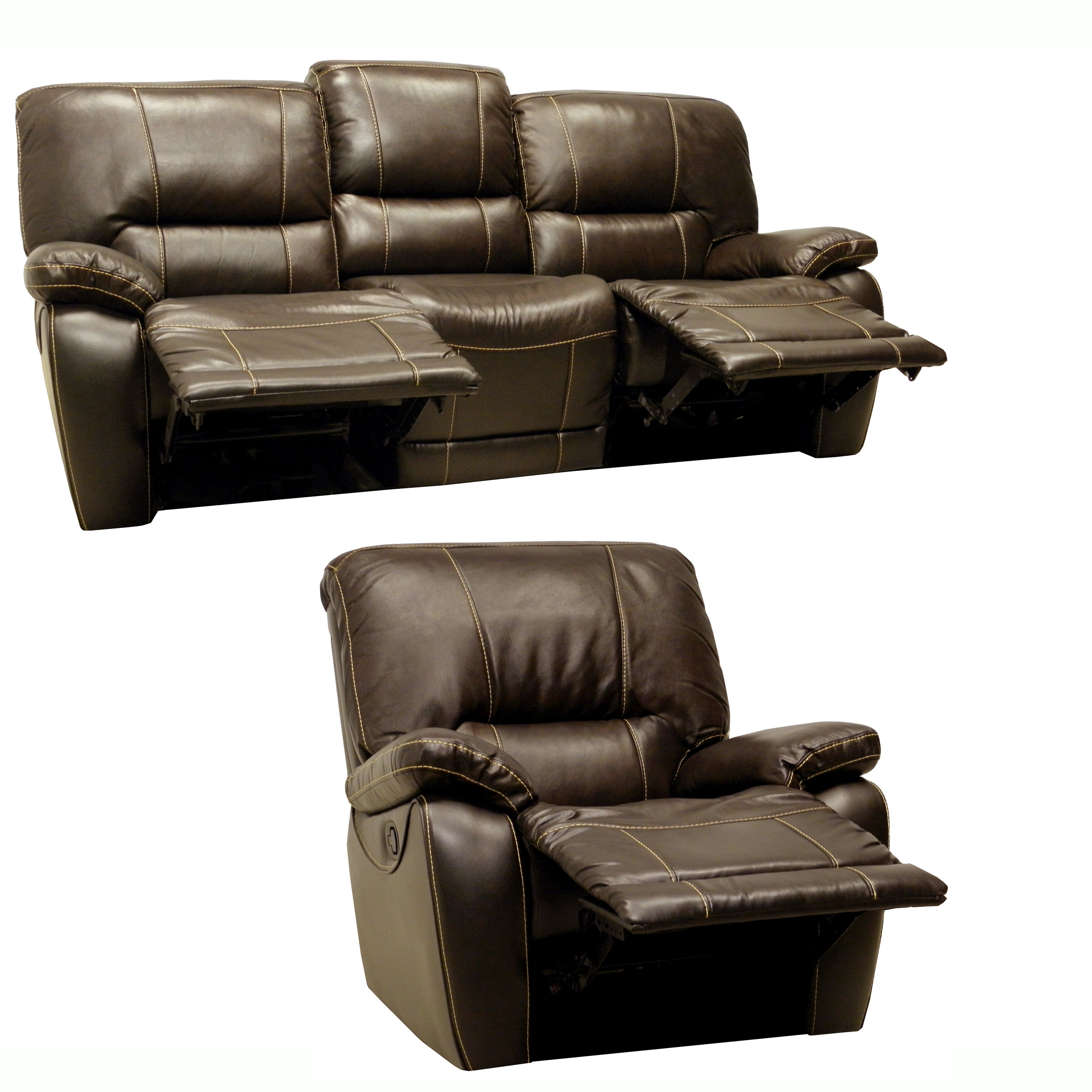 Walton Brown Leather Motorized Reclining Sofa And Glider Recliner Overstock Shopping Big