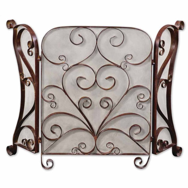 Uttermost Daymeion Distress Cocoa Brown Fireplace Screen