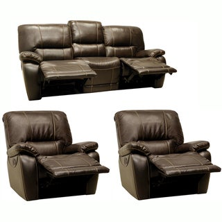 Walton Brown Leather Motorized Reclining Sofa and Two Recliner Chairs