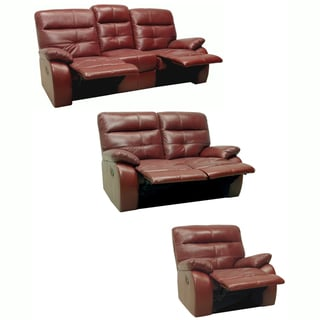 Augusta Red Leather Reclining Sofa, Loveseat and Glider/Recliner
