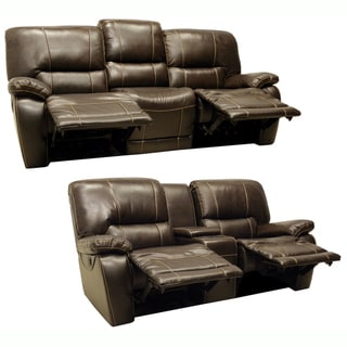 Walton Brown Italian Leather Motorized Reclining Sofa and Loveseat