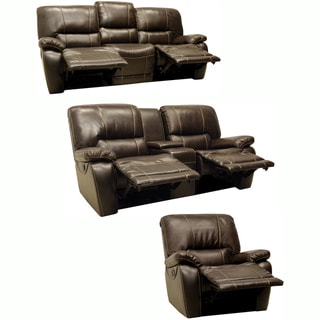 Walton Brown Leather Motorized Reclining Sofa, Loveseat and Recliner