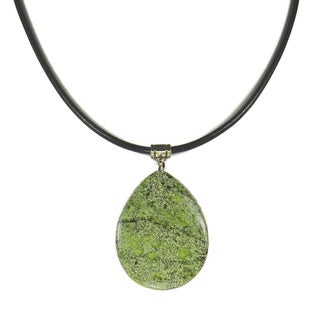 Jewelry by Dawn Teardrop Green Russian Serpentine Greek Leather Necklace