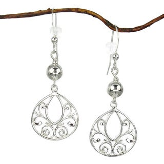 Sterling Bead With Fancy Filigree Sterling Silver Earrings