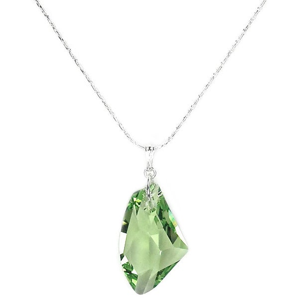Jewelry by Dawn Large Green Crystal Galactic Sterling Silver Necklace