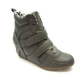 Blue Women's 'Topper' Grey Wedge Sneaker Booties