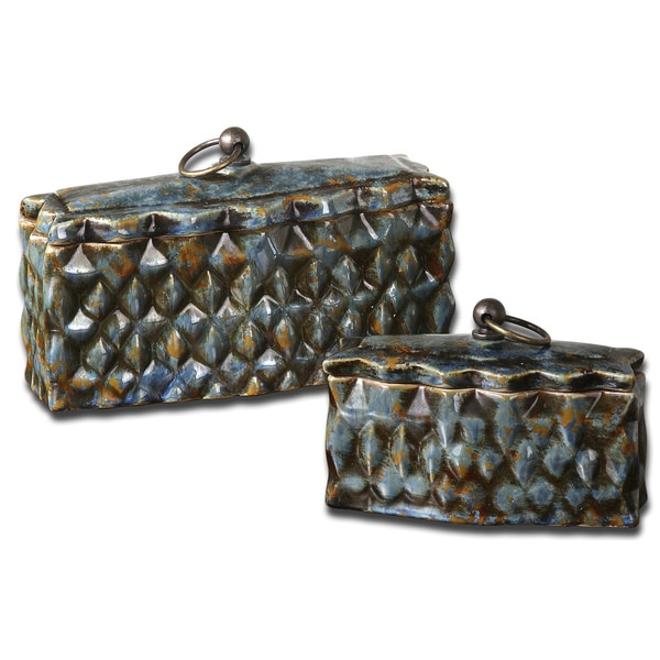 Uttermost Neelab Pale Blue Ceramic Containers (Set of 2) 10889644