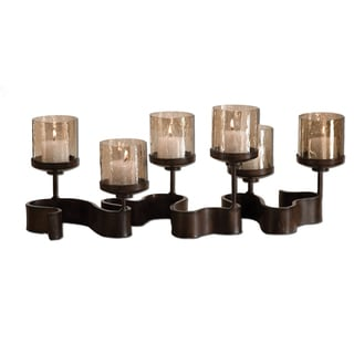Ribbon Antiqued Bronze Metal Candleholders