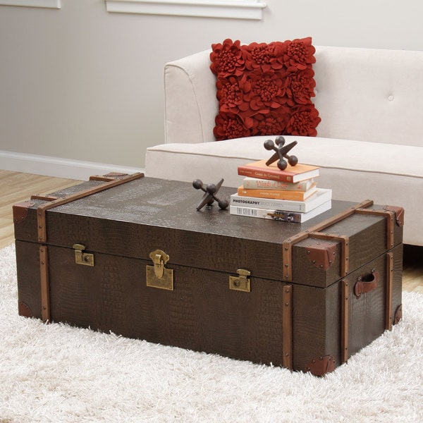 Trunk Coffee Table Plans: Journey Natural Croc-embossed Leather Trunk Coffee Table