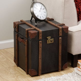 Journey Black Croc-embossed Leather Trunk Side Table