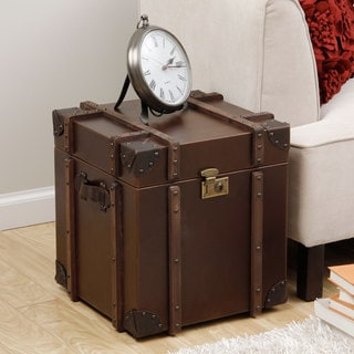 Journey Vintage Tobacco Leather Trunk Side Table