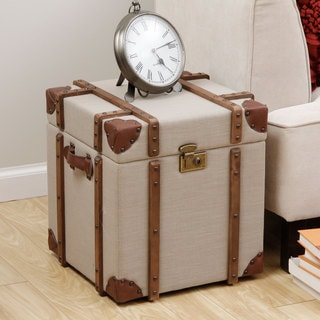 Journey Beige Linen Trunk Side Table