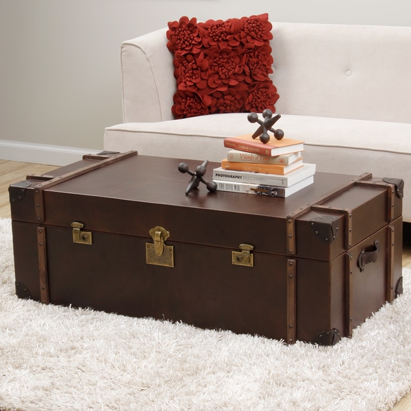 Journey Vintage Tobacco Leather Trunk Coffee Table - Overstock ...