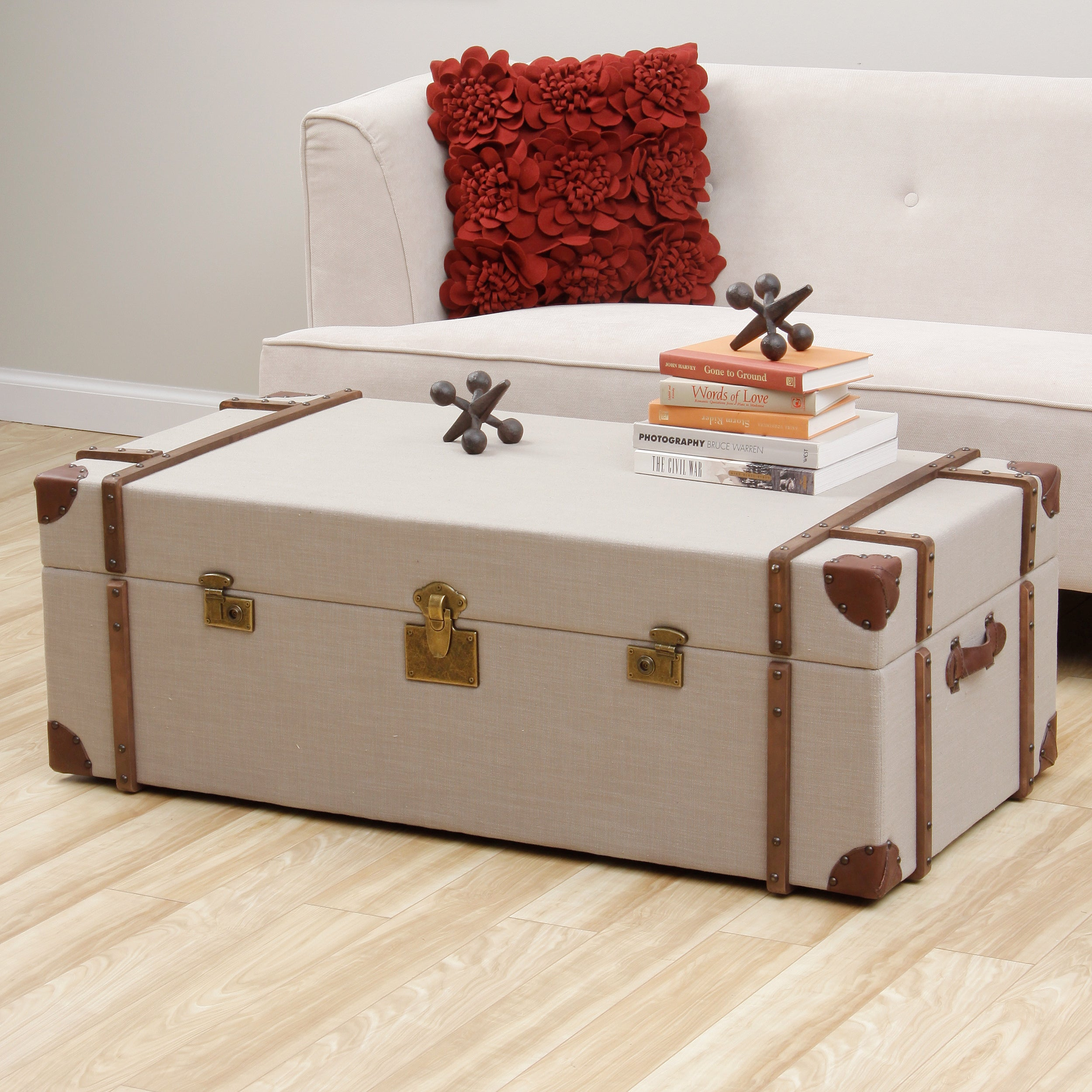 Beige Trunk Coffee Table: Journey Beige Linen Trunk Coffee Table