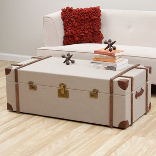 Journey beige linen trunk coffee table overstock for Overstock trunk coffee table
